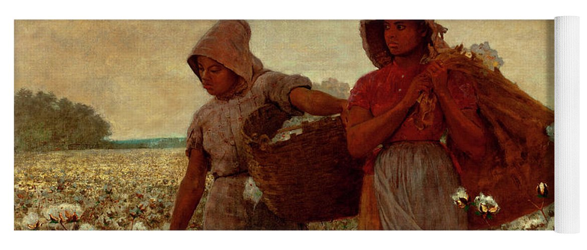 The Cotton Pickers Yoga Mat featuring the painting The Cotton Pickers by Winslow Homer