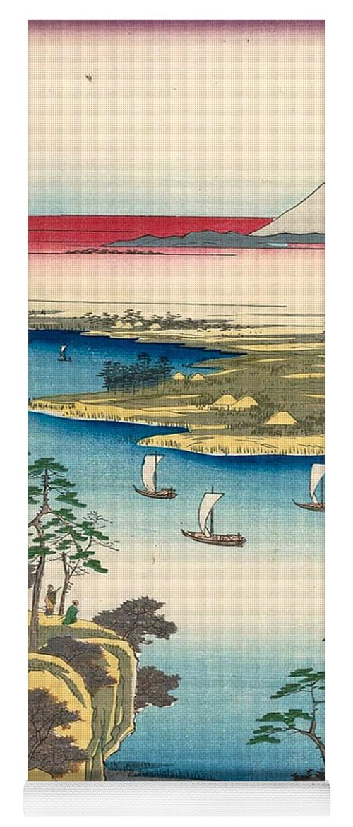 Andō Hiroshige Yoga Mat featuring the painting The Tone River At Konodai 1 by Utagawa Hiroshige