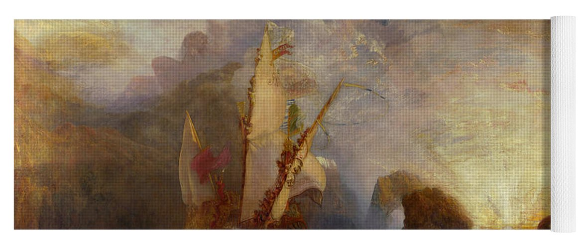 Boat Yoga Mat featuring the painting Ulysses Deriding Polyphemus by JMW Turner