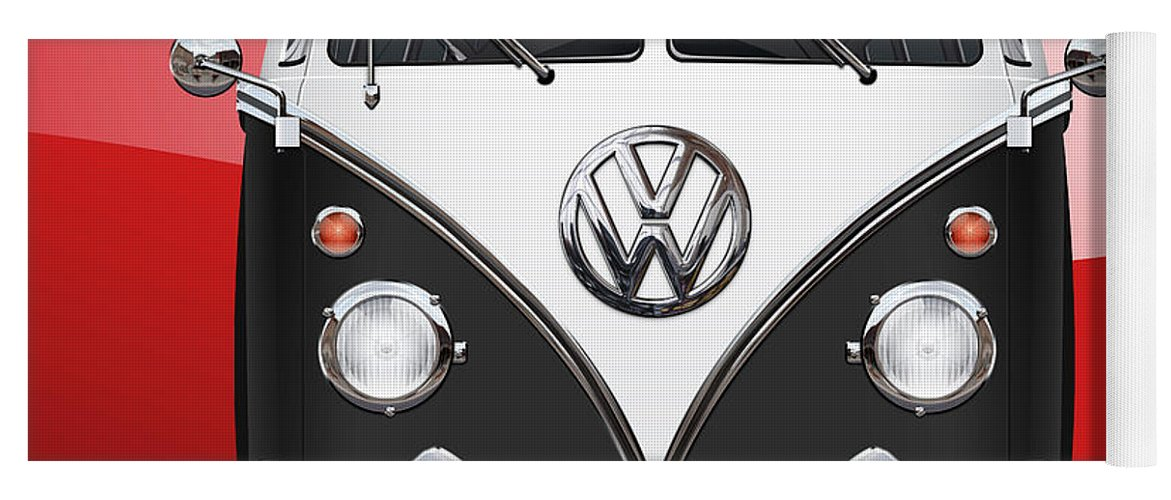 'volkswagen Type 2' Collection By Serge Averbukh Yoga Mat featuring the photograph Volkswagen Type 2 - Black and White Volkswagen T 1 Samba Bus on Red by Serge Averbukh
