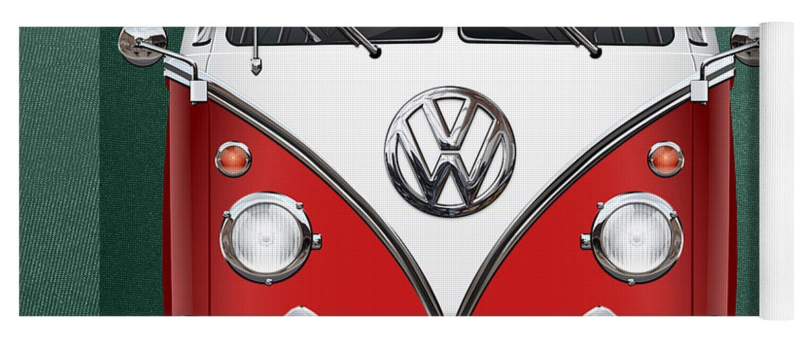 'volkswagen Type 2' Collection By Serge Averbukh Yoga Mat featuring the photograph Volkswagen Type 2 - Red And White Volkswagen T 1 Samba Bus Over Green Canvas by Serge Averbukh