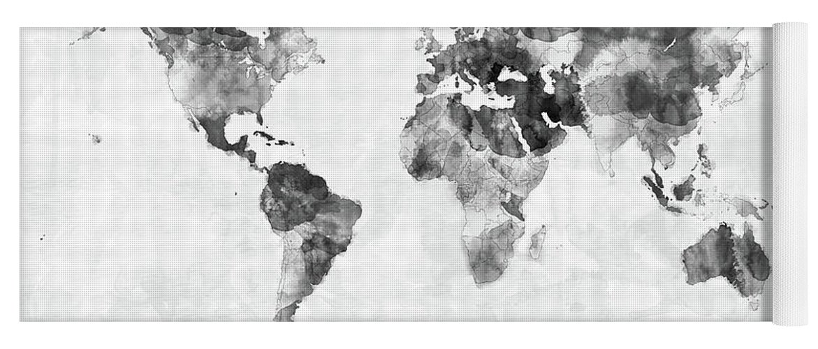 Watercolor map of the world map yoga mat for sale by michael tompsett world map yoga mat featuring the digital art watercolor map of the world map by michael gumiabroncs Gallery