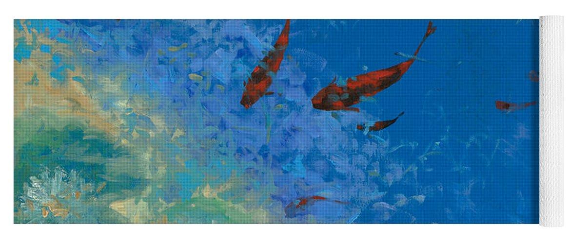 Fishscape Yoga Mat featuring the painting 13 Pesciolini Rossi by Guido Borelli