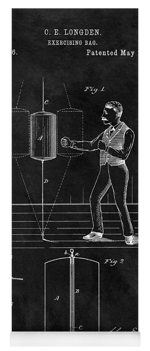 1885 Punching Bag Patent Yoga Mat featuring the drawing 1885 Boxing Bag Patent by Dan Sproul