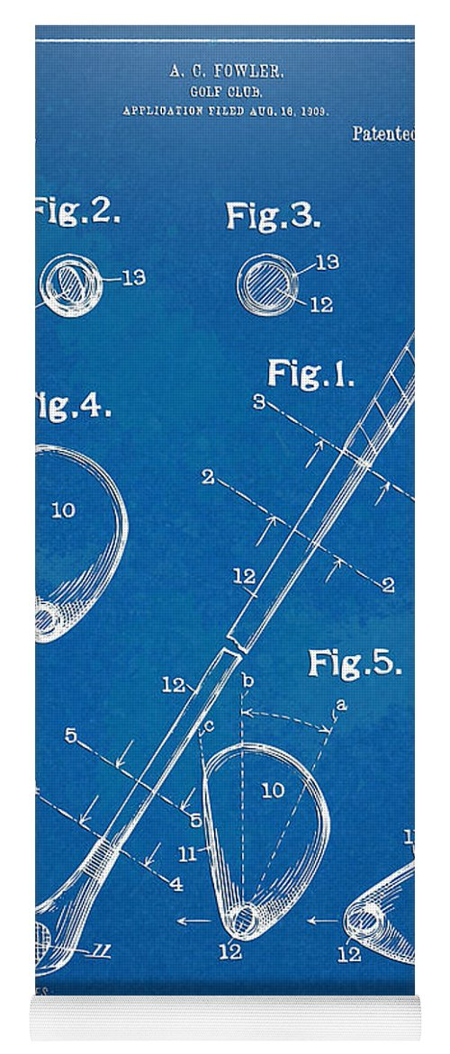 Golf Yoga Mat featuring the digital art 1910 Golf Club Patent Artwork by Nikki Marie Smith