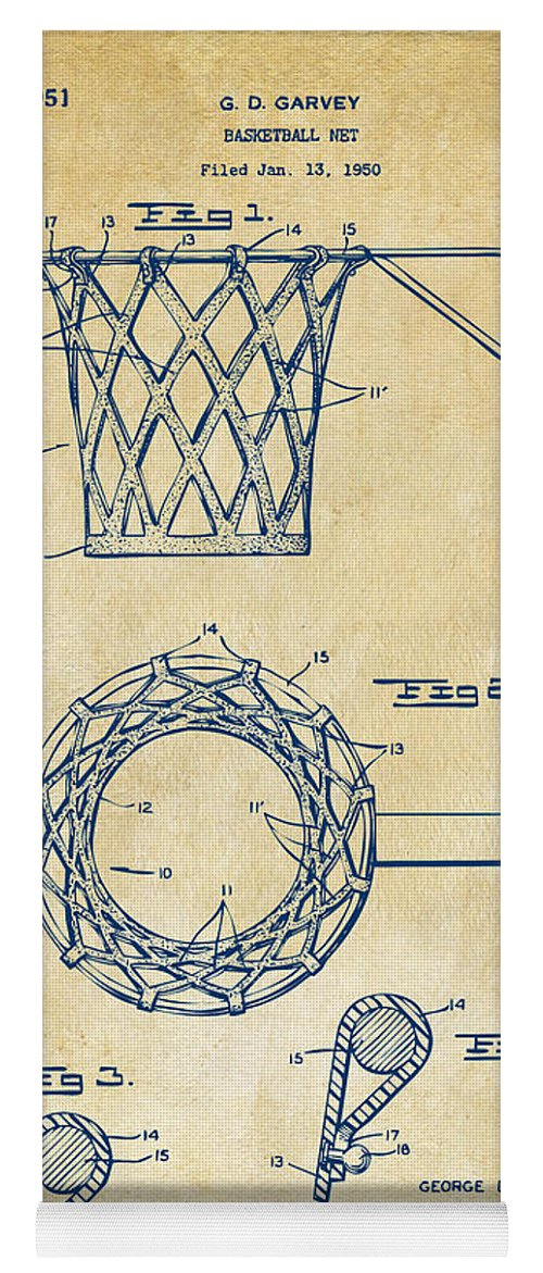 Basketball Yoga Mat featuring the digital art 1951 Basketball Net Patent Artwork - Vintage by Nikki Marie Smith