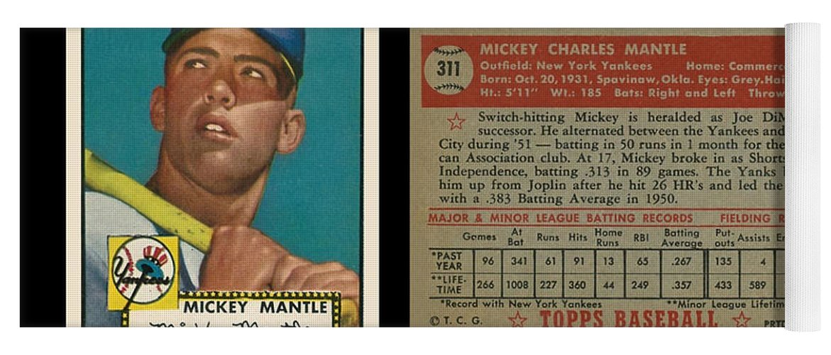 1952 Topps Mickey Mantle Rookie Card Yoga Mat