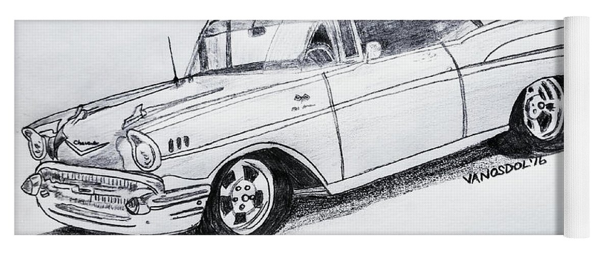 1957 Chevy Bel Air Sport Coupe Graphite Pencil Yoga Mat For Sale