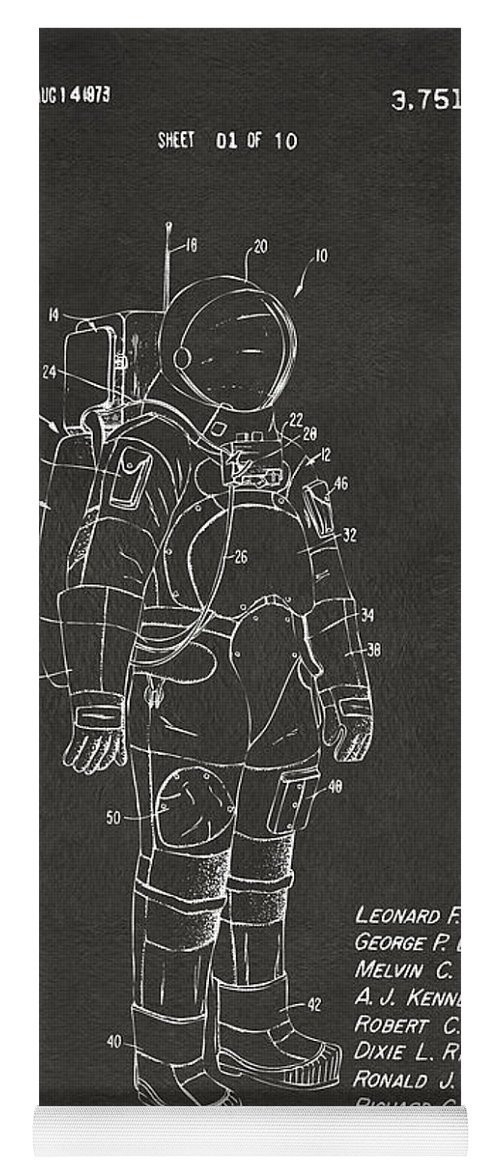 Space Suit Yoga Mat featuring the digital art 1973 Space Suit Patent Inventors Artwork - Gray by Nikki Marie Smith