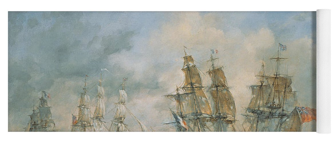 Seascape; Navel; Sea; Ship; Ships; Navel Engagement; Flag; Flags; Cloud; Clouds; Battle; Battling; Sailing; Sailing Ships Yoga Mat featuring the painting 19th Century Naval Engagement In Home Waters by Richard Willis