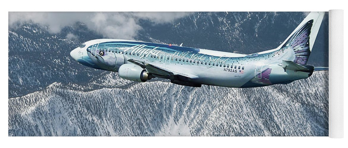 Alaska Airlines Yoga Mat featuring the mixed media Alaska Airlines Boeing 737-400 by Erik Simonsen