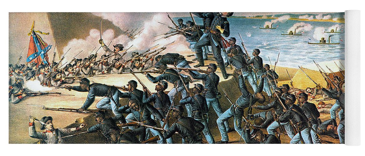 1863 Yoga Mat featuring the photograph Battle Of Fort Wagner, 1863 by Kurz and Allison