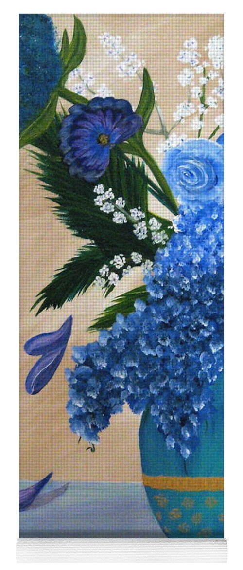 Flowers Yoga Mat featuring the painting Blue Passion by Debbie Levene