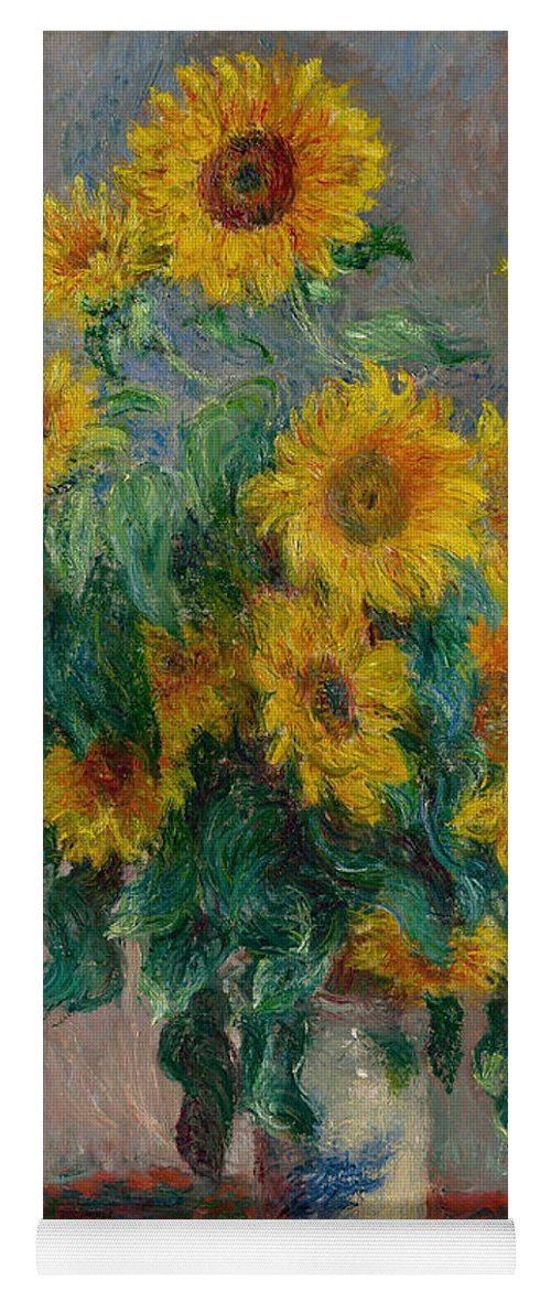Monet Yoga Mat featuring the painting Bouquet Of Sunflowers by Claude Monet