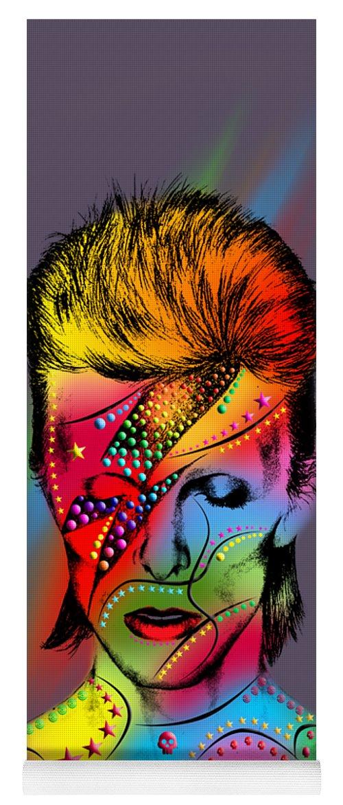 Yoga Mat featuring the digital art David Bowie by Mark Ashkenazi