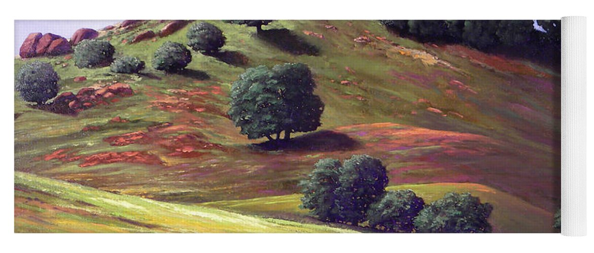 Landscape Yoga Mat featuring the painting Flowering Meadow by Frank Wilson