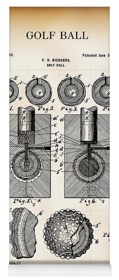 Patent Yoga Mat featuring the digital art Golf Ball Patent 1902 by Daniel Hagerman