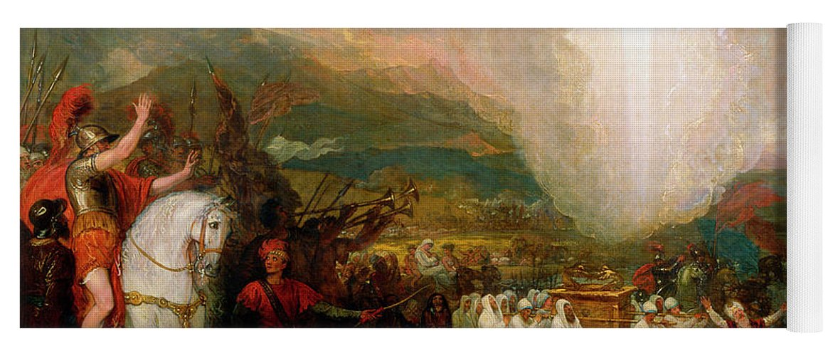 b04b29a8a5c4b7 Joshua Yoga Mat featuring the painting Joshua Passing The River Jordan With  The Ark Of The