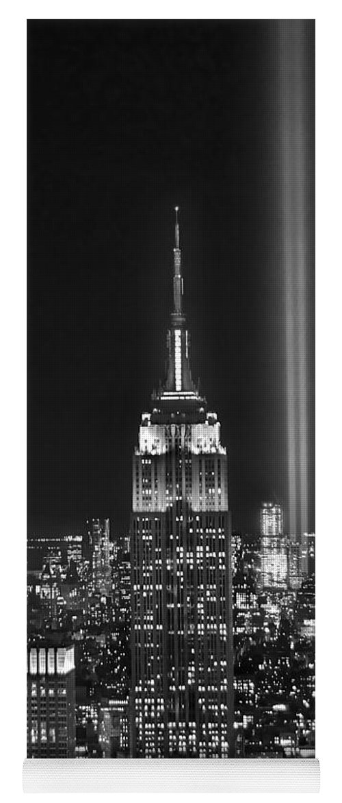 New York City Skyline At Night Yoga Mat featuring the photograph New York City Tribute In Lights Empire State Building Manhattan At Night Nyc by Jon Holiday