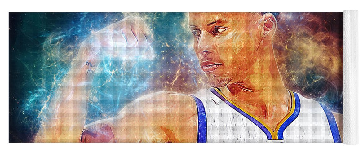Stephen Curry Yoga Mat featuring the digital art Stephen Curry by Zapista OU