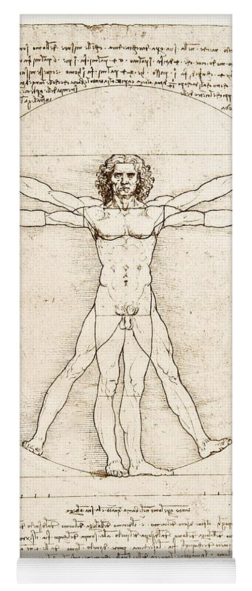 Leonardo Da Vinci Yoga Mat featuring the painting The Proportions Of The Human Figure by Leonardo Da Vinci