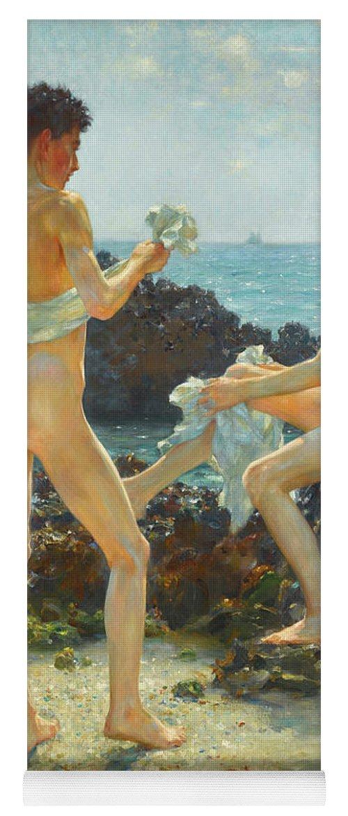 Henry Scott Tuke Yoga Mat featuring the painting Under The Western Sun by Henry Scott Tuke