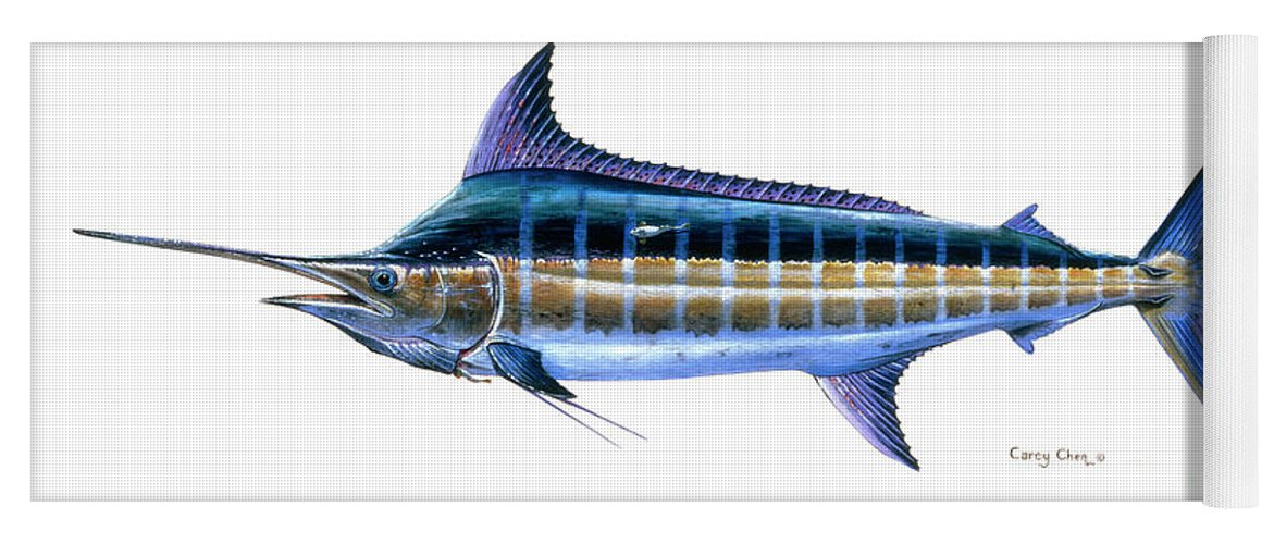 Blue Marlin Yoga Mat featuring the painting Blue Marlin by Carey Chen