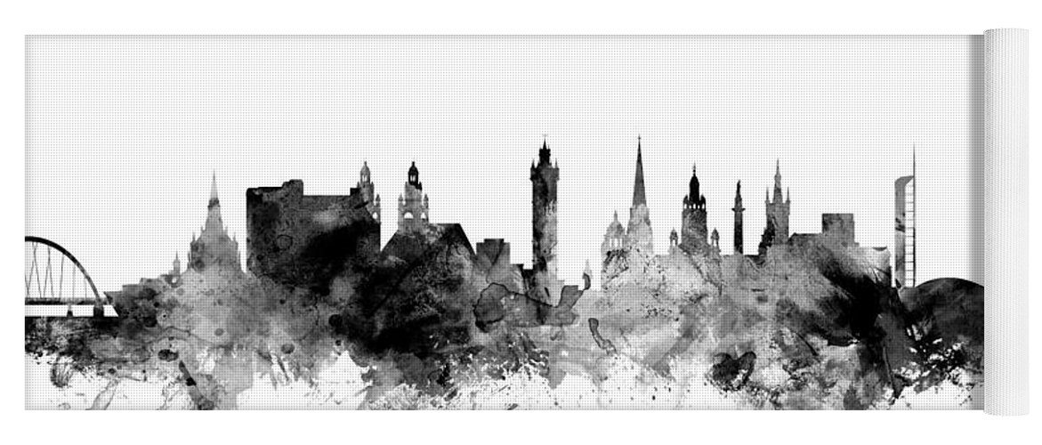 City Yoga Mat featuring the digital art Glasgow Scotland Skyline by Michael Tompsett