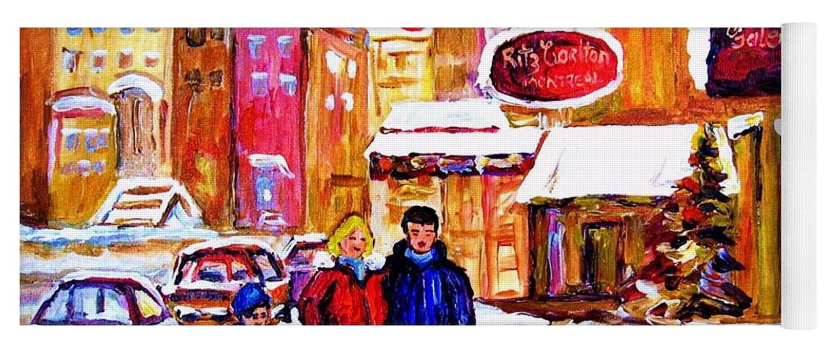Montreal Yoga Mat featuring the painting Montreal Street In Winter by Carole Spandau