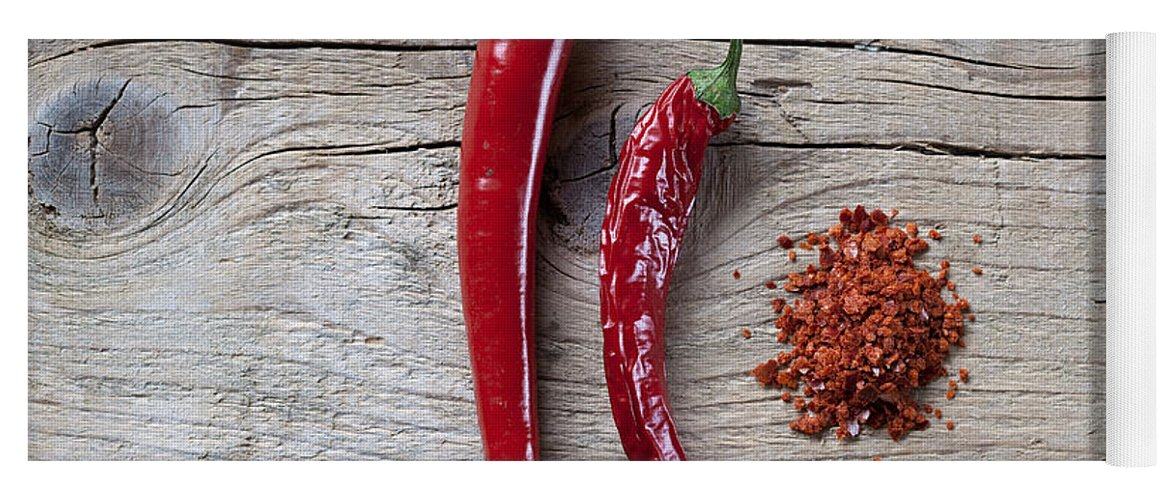 Chili Yoga Mat featuring the photograph Red Chili Pepper by Nailia Schwarz