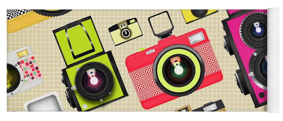 Analog Yoga Mat featuring the photograph Retro Camera Pattern by Setsiri Silapasuwanchai