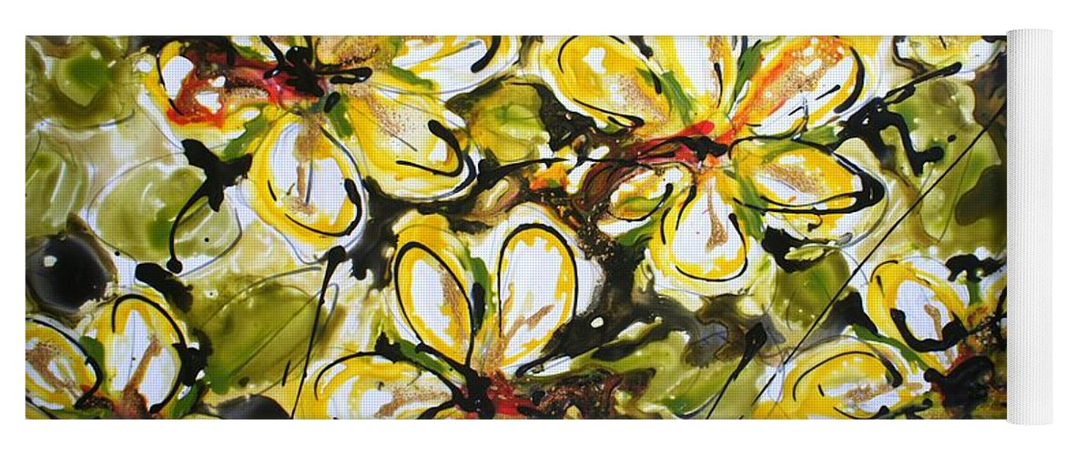 Flowers Yoga Mat featuring the painting Divine Blooms by Baljit Chadha