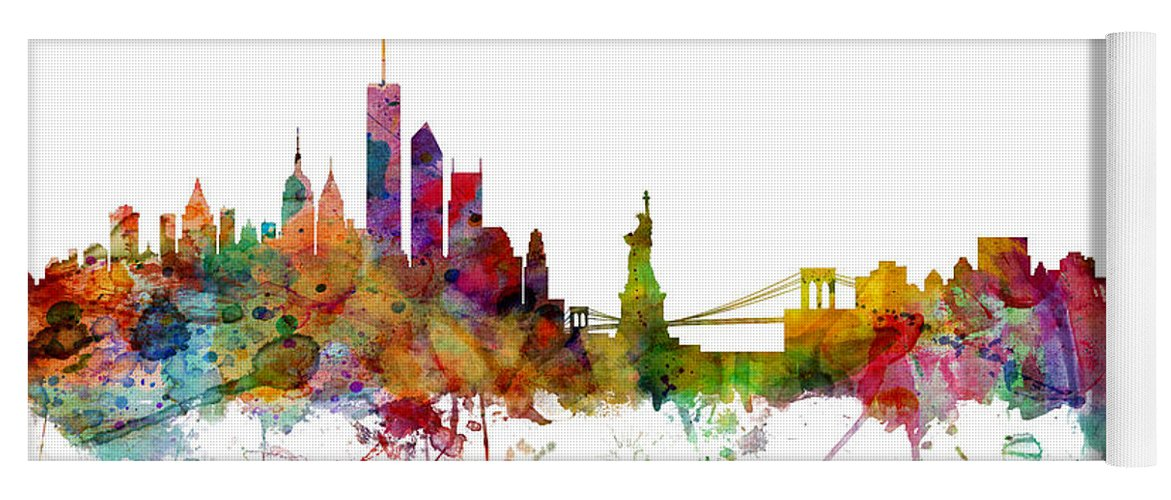 United States Yoga Mat featuring the digital art New York Skyline by Michael Tompsett