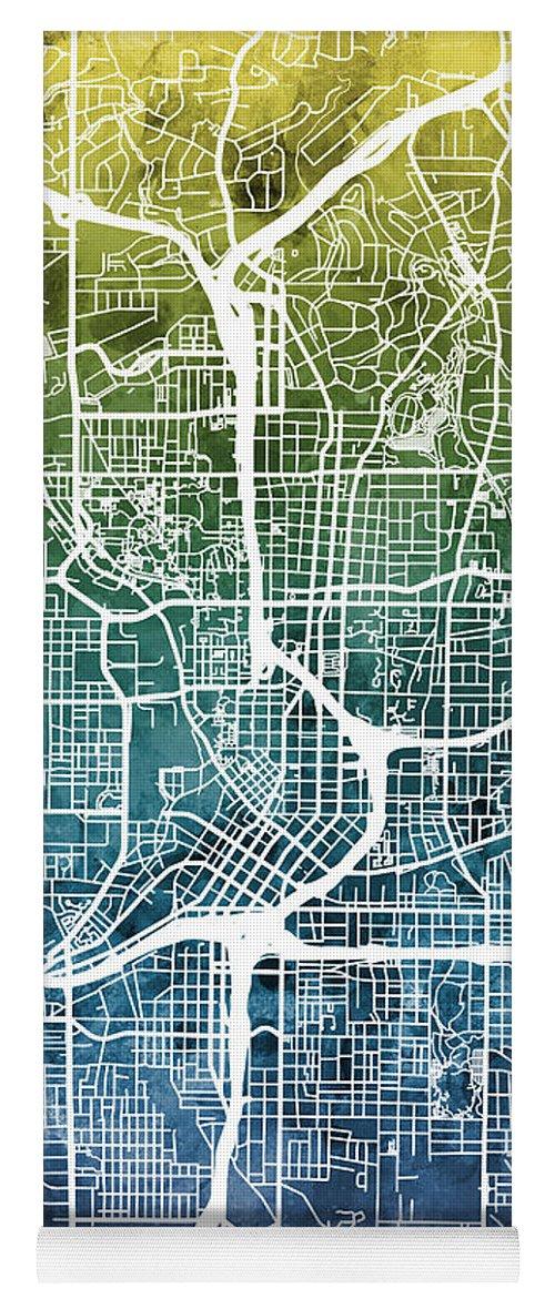 Street Map Yoga Mat featuring the digital art Atlanta Georgia City Map by Michael Tompsett