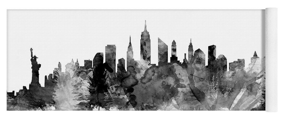 New York Yoga Mat featuring the digital art New York City Skyline by Michael Tompsett