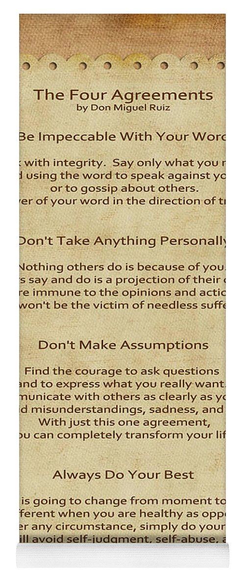 41 The Four Agreements Yoga Mat For Sale By Joseph Keane