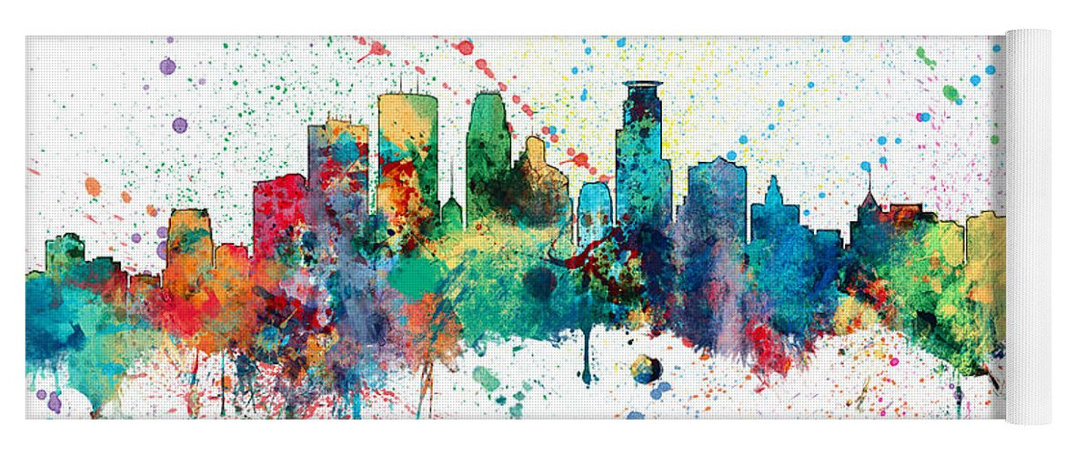 United States Yoga Mat featuring the digital art Minneapolis Minnesota Skyline by Michael Tompsett