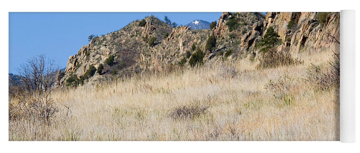 Red Rock Yoga Mat featuring the photograph Red Rock Canyon Open Space Park by Steve Krull