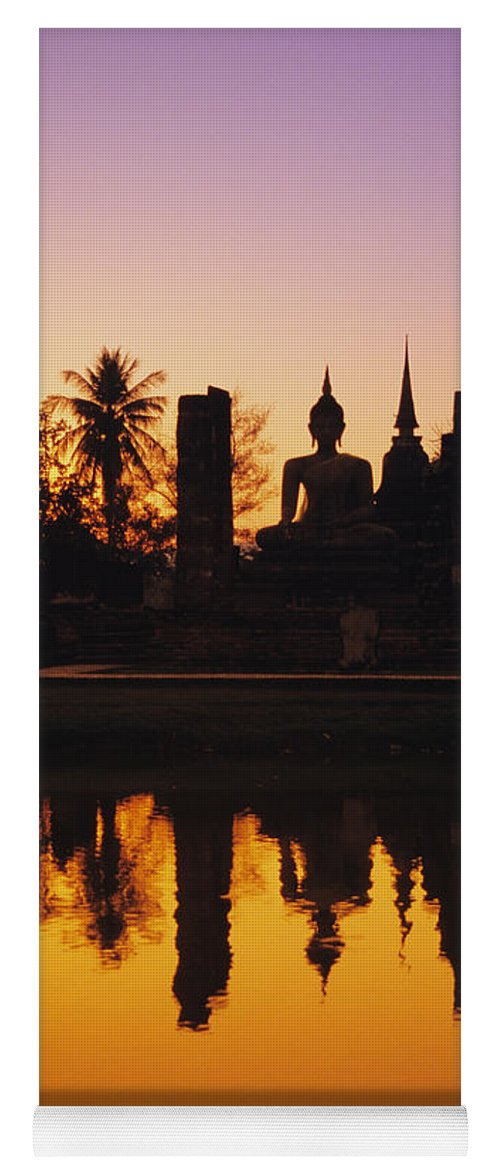 Ancient Yoga Mat featuring the photograph Wat Mahathat by Gloria & Richard Maschmeyer - Printscapes
