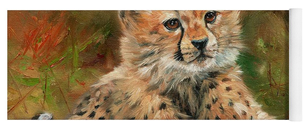 Cheetah Yoga Mat featuring the painting Cheetah Cub by David Stribbling