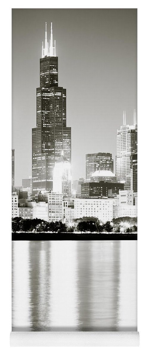 America Yoga Mat featuring the photograph Chicago Skyline At Night by Paul Velgos