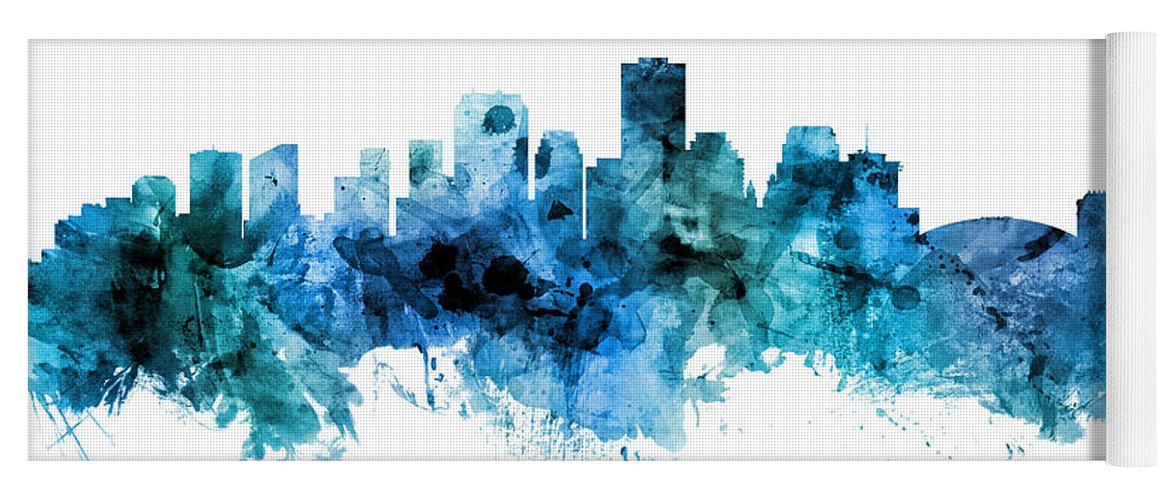 New Orleans Yoga Mat featuring the digital art New Orleans Louisiana Skyline by Michael Tompsett