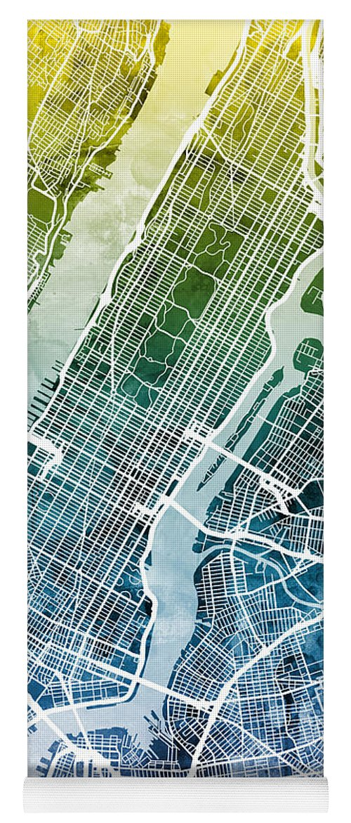 New York Yoga Mat featuring the digital art New York City Street Map by Michael Tompsett