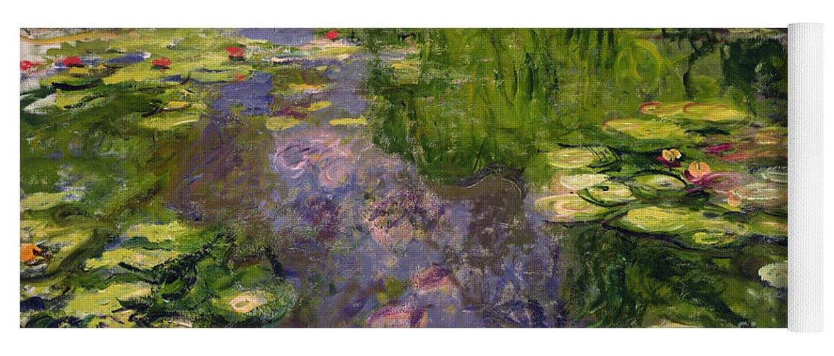 Nympheas; Water; Lily; Waterlily; Impressionist; Green; Purple Yoga Mat featuring the painting Waterlilies by Claude Monet