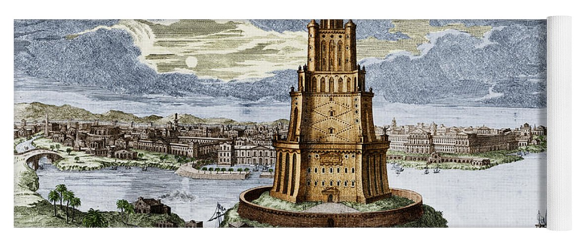History Yoga Mat Featuring The Photograph 7 Wonders Of World Lighthouse By Photo Researchers
