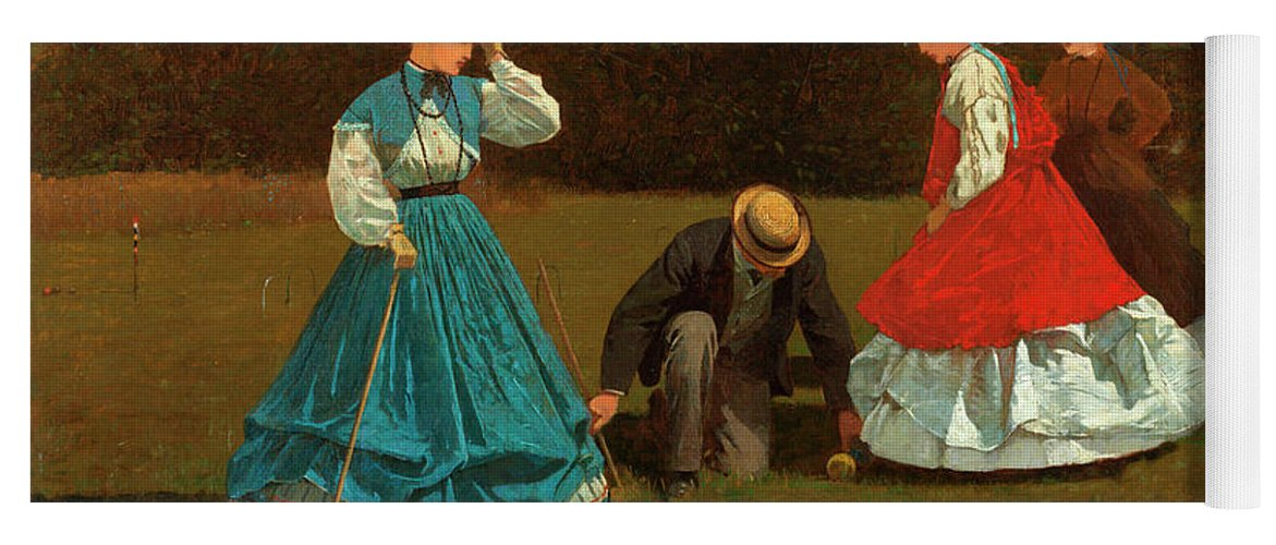 Croquet Scene Yoga Mat featuring the painting Croquet Scene by Winslow Homer