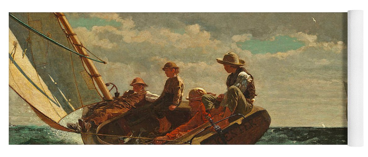 Brezing Up Yoga Mat featuring the painting Breezing Up by Winslow Homer