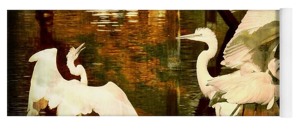 Bird Yoga Mat featuring the photograph 9 Egrets by Leslie Revels