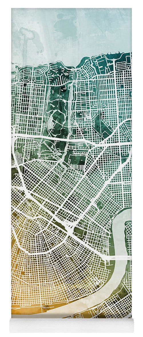 Street Map Yoga Mat featuring the digital art New Orleans Street Map by Michael Tompsett