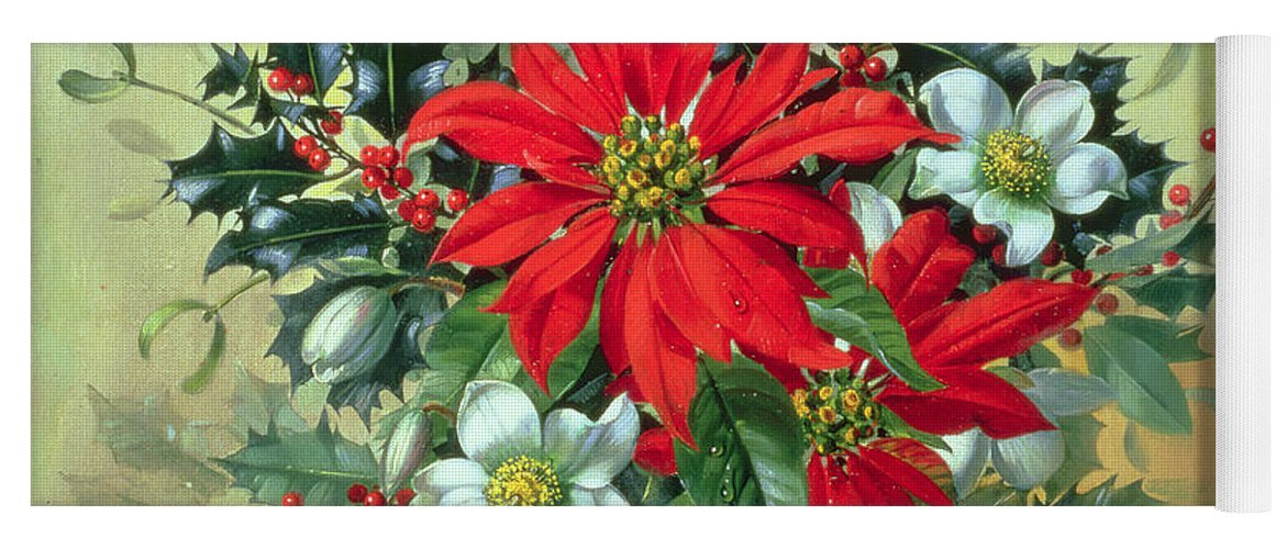 A Christmas Arrangement.A Christmas Arrangement With Holly Mistletoe And Other Winter Flowers Yoga Mat